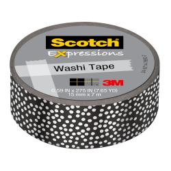 "Scotch® Expressions Washi Tape, 0.59"" x 22.9', Black/Silver Foil Dots"