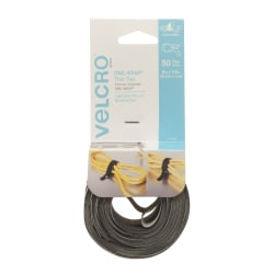 "VELCRO® Brand One-Wrap Thin Ties, 8"" x 1/2"", Gray/Black, Pack Of 50 Ties"
