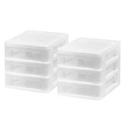 "Iris® Plastic 3-Drawer Desk Organizers, 6 7/8"" x 6 3/4"" x 8 3/8"", White, Set Of 2"