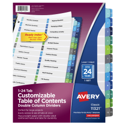 Avery® Ready Index® 20% Recycled Double-Column Table Of Contents Dividers, 24-Tab