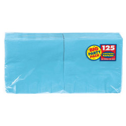 """Amscan 2-Ply Paper Lunch Napkins, 6-1/2"""" x 6-1/2"""", Caribbean Blue, 125 Per Big Party Pack, Set Of 3 Packs"""
