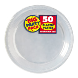 """Amscan Plastic Dessert Plates, 7"""", Clear, 50 Plates Per Big Party Pack, Set Of 2 Packs"""