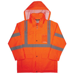 Ergodyne GloWear® 8366 Lightweight Type R Class 3 High-Visibility Rain Jacket, 3X, Orange