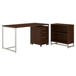 "kathy ireland® Office by Bush Business Furniture Method 60""W Table Desk With Bookcase And Mobile File Cabinet, Century Walnut, Standard Delivery"