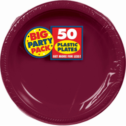 "Amscan Plastic Plates, 10-1/4"", Berry, 50 Plates Per Big Party Pack, Set Of 2 Packs"