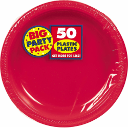 """Amscan Plastic Plates, 10-1/4"""", Apple Red, 50 Plates Per Big Party Pack, Set Of 2 Packs"""