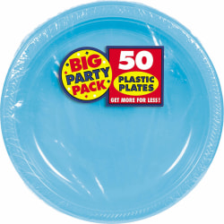 "Amscan Plastic Plates, 10-1/4"", Caribbean Blue, 50 Plates Per Big Party Pack, Set Of 2 Packs"
