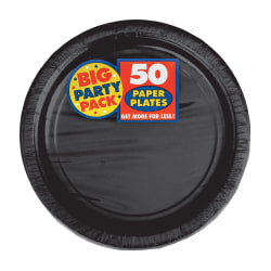 "Amscan Big Party Pack 7"" Round Paper Plates, Jet Black, 50 Plates Per Pack, Set Of 2 Packs"