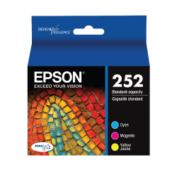 Epson® 252 DuraBrite® Ultra Cyan/Magenta/Yellow Ink Cartridges, Pack Of 3, T252520-S