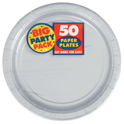 """Amscan Big Party Pack 7"""" Round Paper Plates, Silver, 50 Plates Per Pack, Set Of 2 Packs"""