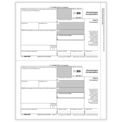 """ComplyRight 1099-NEC Tax Forms, Recipient Copy B, 2-Up, Laser, 8-1/2"""" x 11"""", Pack Of 50 Forms"""