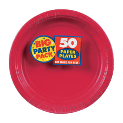 """Amscan Big Party Pack 7"""" Round Paper Plates, Apple Red, 50 Plates Per Pack, Set Of 2 Packs"""