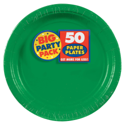 "Amscan Big Party Pack 9"" Round Paper Plates, Festive Green, 50 Plates Per Pack, Set Of 2 Packs"