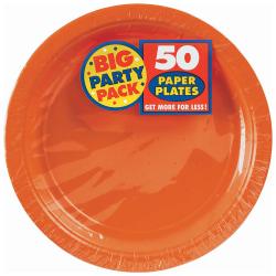 "Amscan Big Party Pack 9"" Round Paper Plates, Orange Peel, 50 Plates Per Pack, Set Of 2 Packs"