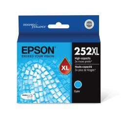 Epson® 252XL DuraBrite® Ultra High-Yield Cyan Ink Cartridge, T252XL220-S