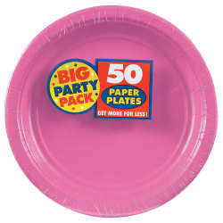 "Amscan Big Party Pack 9"" Round Paper Plates, Bright Pink, 50 Plates Per Pack, Set Of 2 Packs"