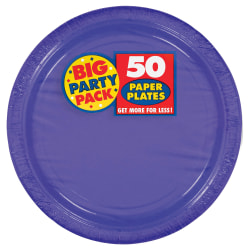 "Amscan Big Party Pack 9"" Round Paper Plates, Purple, 50 Plates Per Pack, Set Of 2 Packs"
