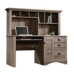 Sauder® Harbor View Collection Computer Desk With Hutch, Salt Oak