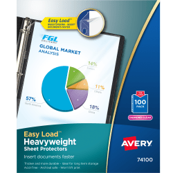 """Avery® Top-Loading Nonstick Sheet Protectors, Heavyweight, Clear, 8 1/2"""" x 11"""", Box Of 100"""