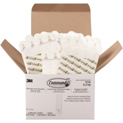 Command Medium Picture Hanging Strips - 3 lb (1.36 kg) Capacity - for Pictures, Paint, Wood - Foam - White - 52 / Box