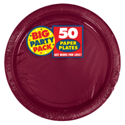 """Amscan Big Party Pack 9"""" Round Paper Plates, Berry, 50 Plates Per Pack, Set Of 2 Packs"""