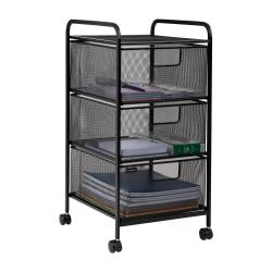 "Mind Reader Metal Mesh 3-Drawer Rolling Cart With Handles, 23"" x 12"" x 12 3/4"", Black"