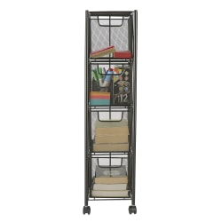 "Mind Reader Metal Mesh 4-Drawer Storage Cart, 31 1/2"" x 7 1/2"" x 10 3/4"", Black"