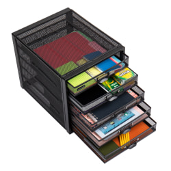 Mind Reader 5-Drawer Mesh Office Cabinet, Silver