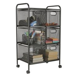 "Mind Reader Metal Mesh 6-Drawer Rolling Office Cart, 29 1/2"" x 17"" x 11"", Black"
