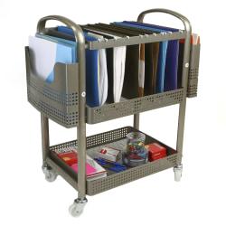 """Mind Reader Heavy-Duty 2-Tier Metal File Cart, 24-1/4""""H x 21-1/2""""W x 12""""D, Silver"""