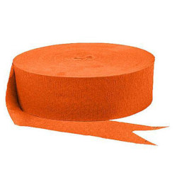 Amscan Jumbo Crepe Paper Streamers, 500', Orange Peel, Pack Of 6 Rolls