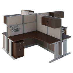 Bush Business Furniture Office in an Hour 4 Person L Shaped Cubicle Workstations, Mocha Cherry, Premium Installation