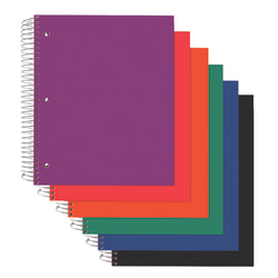 "Office Depot® Brand Poly Cover Wirebound Notebook, 3 Hole-Punched, 9"" x 11"", 3 Subject, College Ruled, 150 Sheets, Assorted Colors (No Color Choice)"