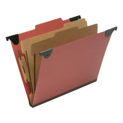 "SKILCRAFT 2/5 Tab Cut Letter Recycled Hanging Folder - 1"" Folder Capacity - 8 1/2"" x 11"" - Top Tab Position - 2 Divider(s) - Pressboard, Kraft, Fiber - Red - 60% - 10 / Box - TAA Compliant"