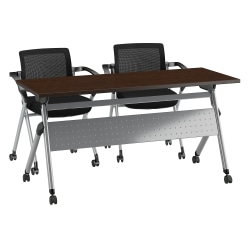 "Bush Business Furniture 60""W x 24""D Folding Training Table With Set Of 2 Folding Chairs, Mocha Cherry/Cool Gray Metallic, Premium Installation"