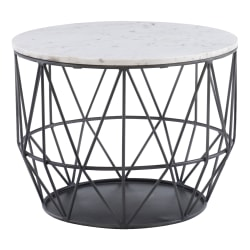 "Powell Ancken Metal Wire Side Table With Marble Top, 18""H x 24""W x 24""D, Silver"