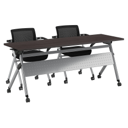 """Bush Business Furniture 72""""W x 24""""D Folding Training Table With Set Of 2 Folding Chairs, Storm Gray/Cool Gray Metallic, Premium Installation"""