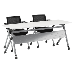 """Bush Business Furniture 72""""W x 24""""D Folding Training Table with Set of 2 Folding Chairs, White/Cool Gray Metallic, Premium Installation"""