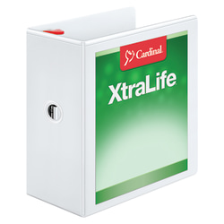 "Cardinal® XtraLife™ Locking Slant-D® Ring 3-Ring Binder, 5"" D-Rings, 55% Recycled, White"