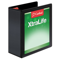 "Cardinal® XtraLife™ Locking Slant-D® Ring 3-Ring Binder, 4"" D-Rings, 55% Recycled, Black"