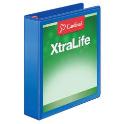 "Cardinal® XtraLife™ Locking Slant-D® Ring 3-Ring Binder, 1 1/2"" D-Rings, 55% Recycled, Blue"