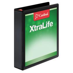 "Cardinal® XtraLife™ Locking Slant-D® Ring 3-Ring Binder, 1 1/2"" D-Rings, 55% Recycled, Black"