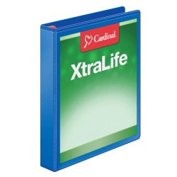 "Cardinal® XtraLife® Locking Slant-D® Ring Binder, 1"" Rings, 55% Recycled, Blue"