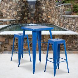 """Flash Furniture Square Metal Bar Table Set With 2 Backless Stools, 40""""H x 27-3/4""""W x 27-3/4""""D, Blue"""