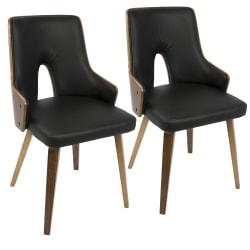LumiSource Stella Chairs, Black/Walnut, Set Of 2 Chairs