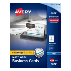 """Avery® Inkjet Clean-Edge Two-Side Printable Business Cards, 2-Sided, 2"""" x 3 1/2"""", White Matte, Pack Of 400"""