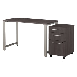"""Bush Business Furniture 400 Series Table Desk with 3 Drawer Mobile File Cabinet, 48""""W x 24""""D, Storm Gray, Standard Delivery"""