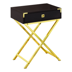 "Monarch Specialties Leigh Accent Table, 24""H x 18-1/4""W x 12""D, Cappuccino/Gold"