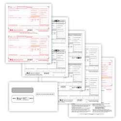 """ComplyRight™ W-2 Tax Forms Set, 4-Part, 2-Up, Copies A, B, C, D, Laser, 8-1/2"""" x 11"""", Pack Of 100 Forms And Envelopes"""