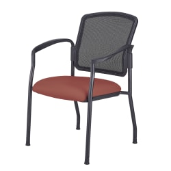 WorkPro® Spectrum Series Antimicrobial Vinyl Stacking Guest Chair, With Arms, Cordovan/Black
